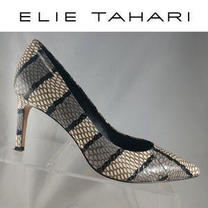 Womes Size 9 Elie Tahari Snake Skin Heels black